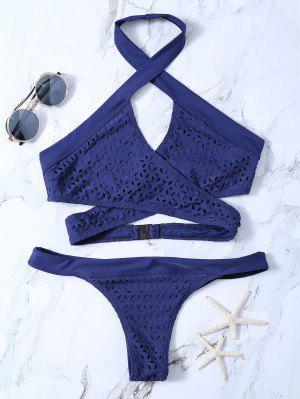 Assortiment De Bikini Drapé à œillets - Bleu Violet S