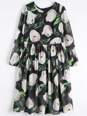 Robe En Mousseline De Soie à Motif Floral à Manches Longues - Noir S