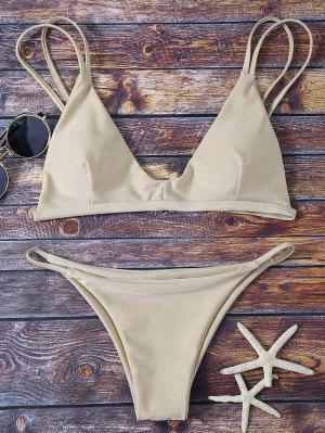 Haut Rembourré De Bikini Et Bas à Lanières - Kaki S