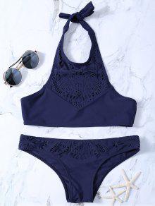 Assortiment De Bikini évidé à Col Haut - Bleu Violet Xl
