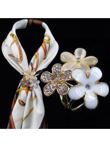 حجر الراين الصقيل زهرة وشاح مشبك بروش - أبيض