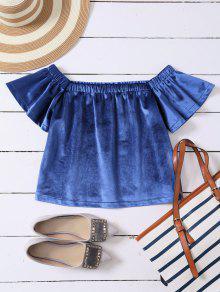 Off The Shoulder Velvet Loose T-Shirt - Blue S