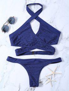 Cutout Eyelets Wrap Bikini - Purplish Blue Xl