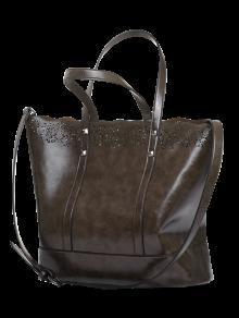 حقيبة توتي من الجلد المصنع مزينة بتجويف - براون العميق