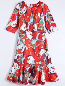 Ruffle Hem Midi Sheath Dress - Red S