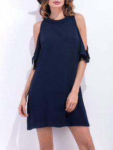 فستان باردة الكتف مصغر شيفون - الأرجواني الأزرق Xl