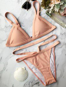 Assortiment De Bikini Rembourré à Bretelles Bandées - Rose PÂle M
