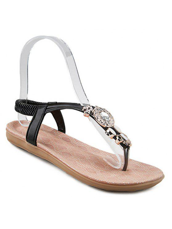 2018 Elastic Band Rhinestones Flat Sandals In BLACK 38