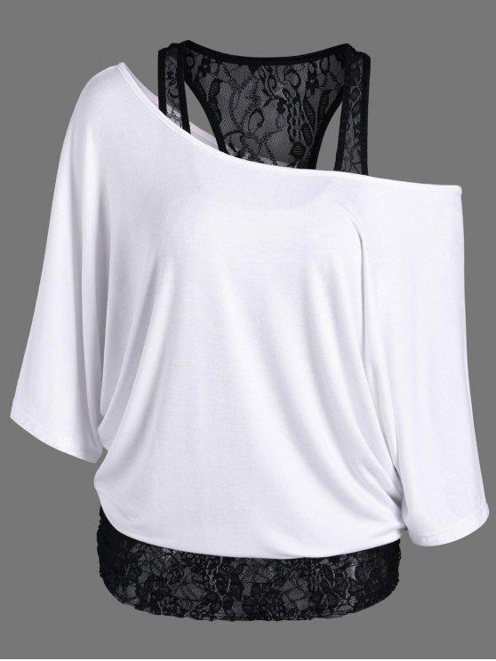 T-Shirt Encolure Cloutée à Empiècement en Dentelle - Blanc XL