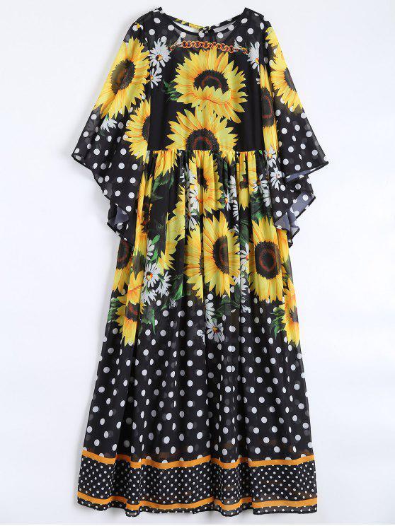 Girasol del lunar de Maxi vestidos de gasa - Negro M