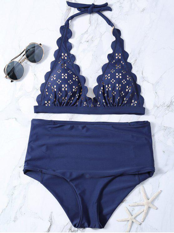 shops Laser Cut High Waisted Bikini - PURPLISH BLUE S