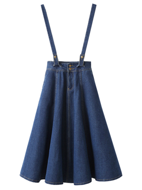 hot Suspender Denim Skirt - DEEP BLUE M