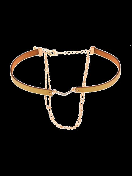 Colliers choker en faux cuir avec strass en V-forme - Or