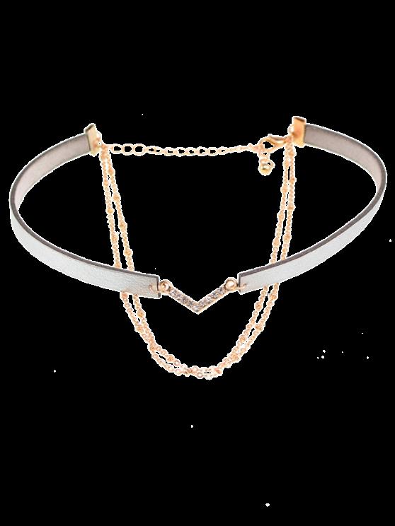 Colliers choker en faux cuir avec strass en V-forme - Gris