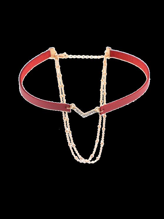 جلدية فو حجر الراين الخامس على شكل قلادة قلادة - نبيذ أحمر