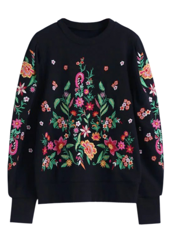 Oversized Floral Embroidered Sweatshirt - Black L