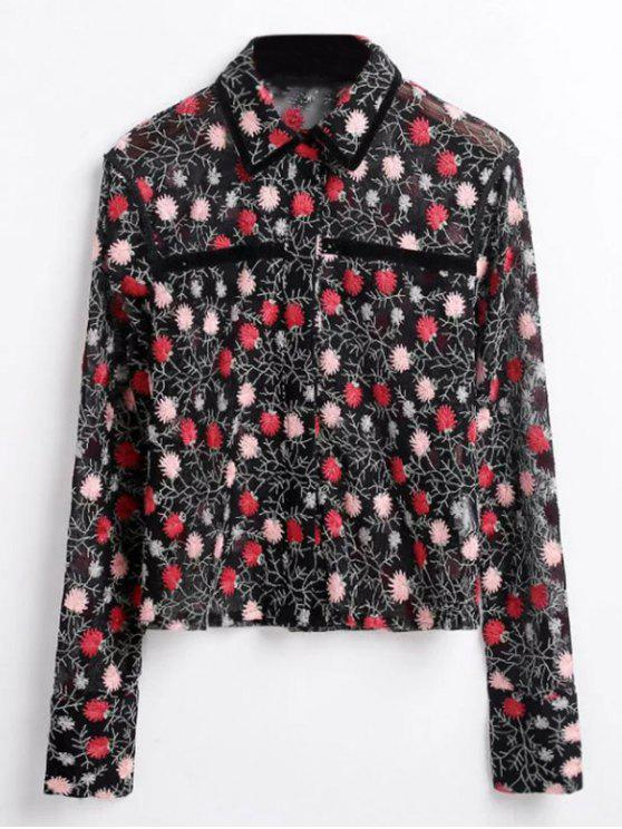 women Floral Embroidered See-Through Shirt - BLACK M