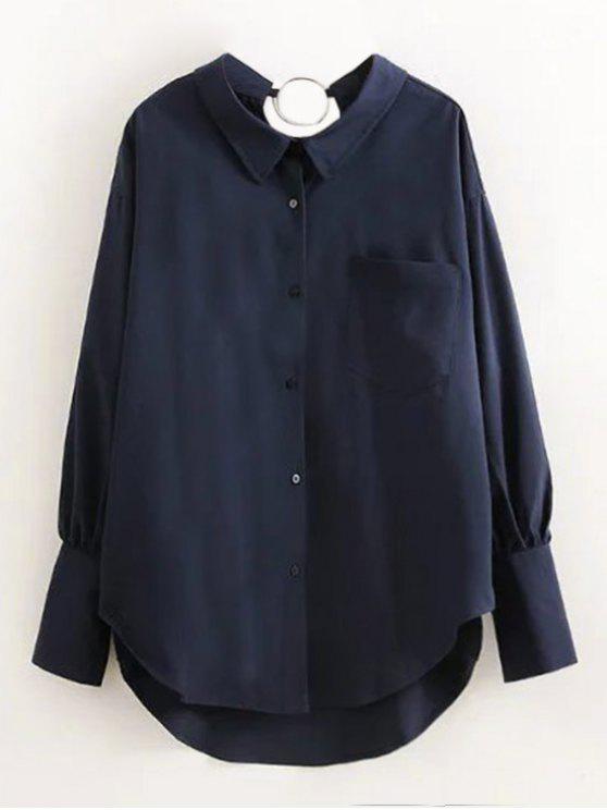 shop Boyfriend Metal Circle Pocket Shirt - PURPLISH BLUE S