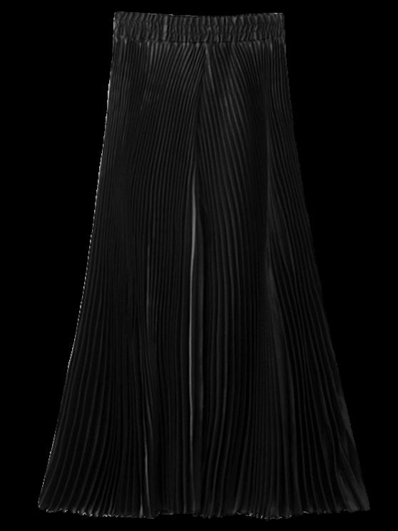 Pantalon capri plissé à jambes larges - Noir Taille Unique