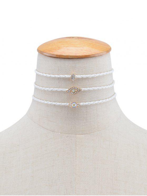 new Rhinestone Eye Geometric Braid Choker Necklaces - WHITE