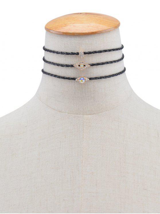 Colliers choker tressés forme de géométrique œil en strass - Noir