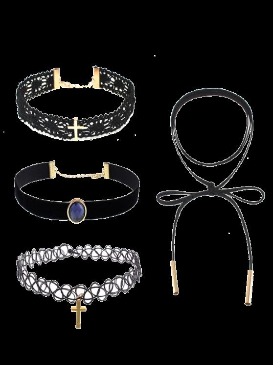 Colliers agrémentés de crucifix, de dentelle et de pierres artificielles - Noir