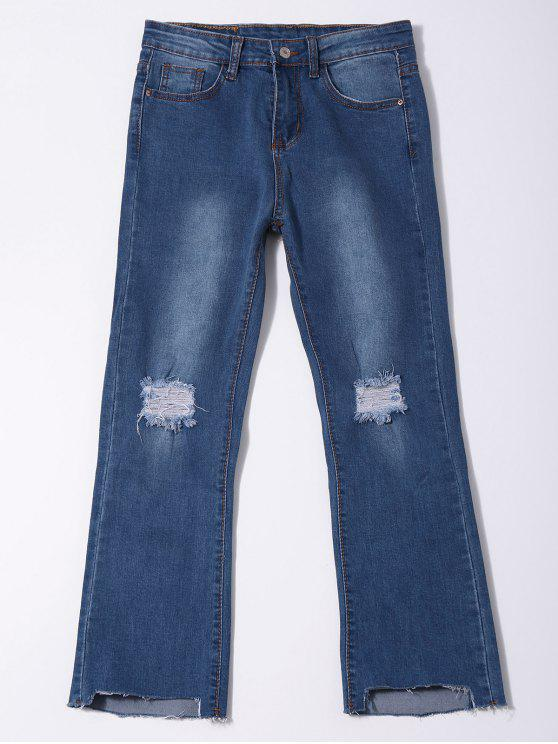 best Distressed Asymmetric Hem Capri Jeans - DENIM BLUE L