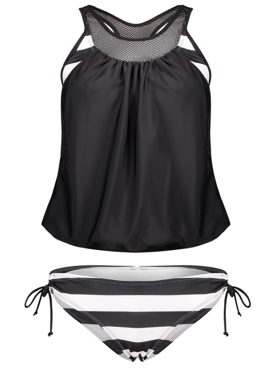 ladies Striped Mesh Panel Tankini Set - BLACK M
