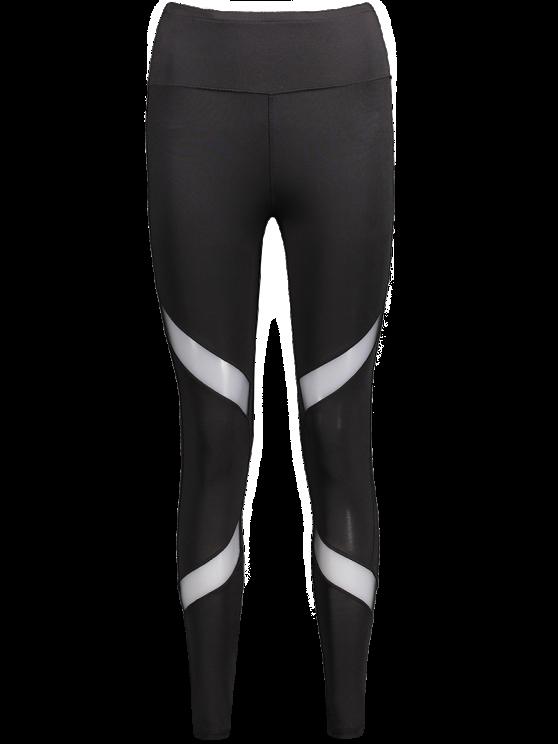 Leggings amincissants de sport en maille transparente - Noir L