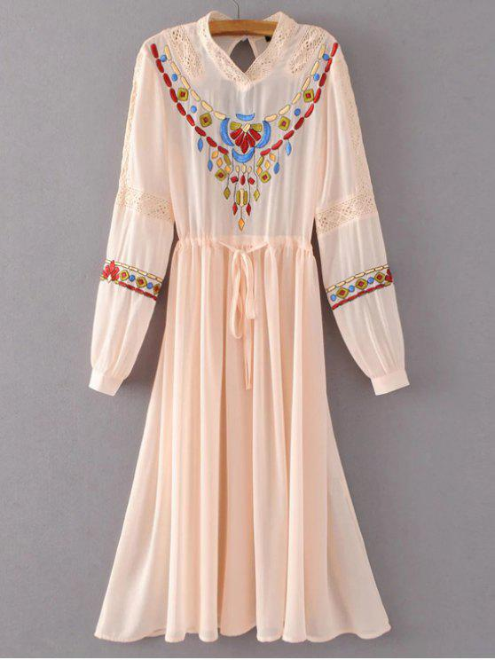 outfits Belted Embroidered Long Sleeve Dress - PINK S