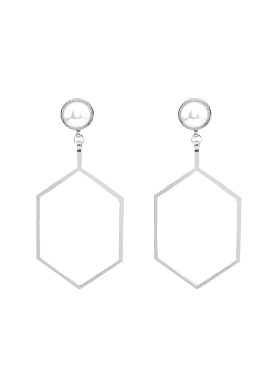 ladies Faux Pearl Hexagon Earrings - SILVER