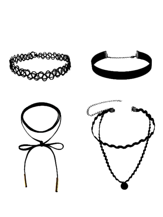 affordable Faux Leather Velvet Tattoo Choker Necklaces - BLACK