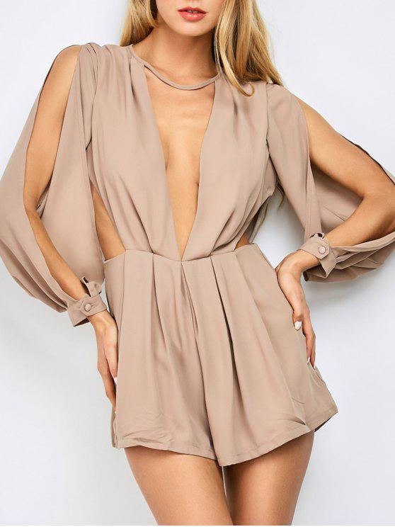 lady Split Sleeve Plunging Neck Cut Out Romper - PINKBEIGE L
