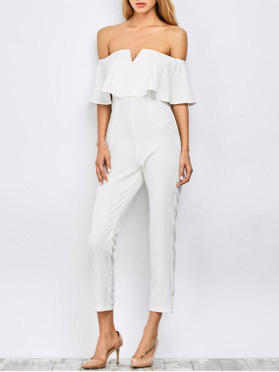 sale Ruffles Off Shoulder Jumpsuit - WHITE 2XL