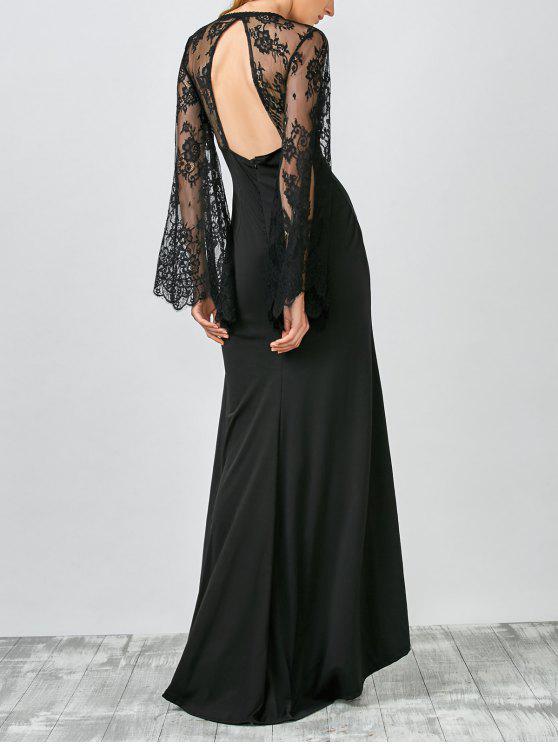 unique Plunge Lace Panel Evening Dress - BLACK S