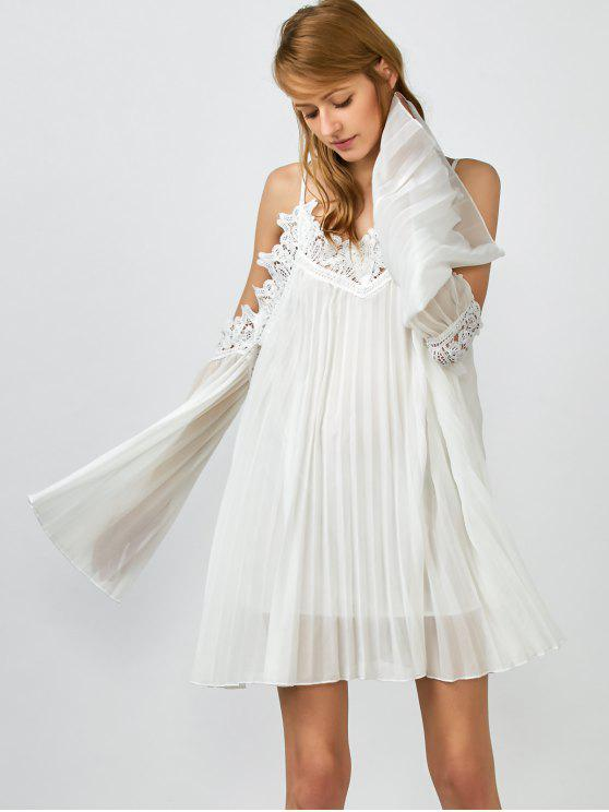 latest Lacework Pleated Cami Dress - WHITE S