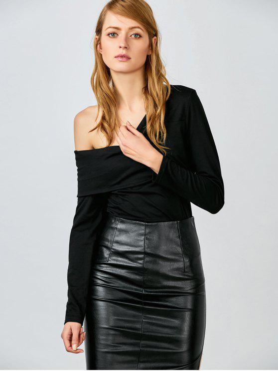 Une épaule Ruffles Bodysuit - Noir S