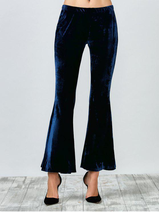 online Flared Velvet Pants - PURPLISH BLUE M