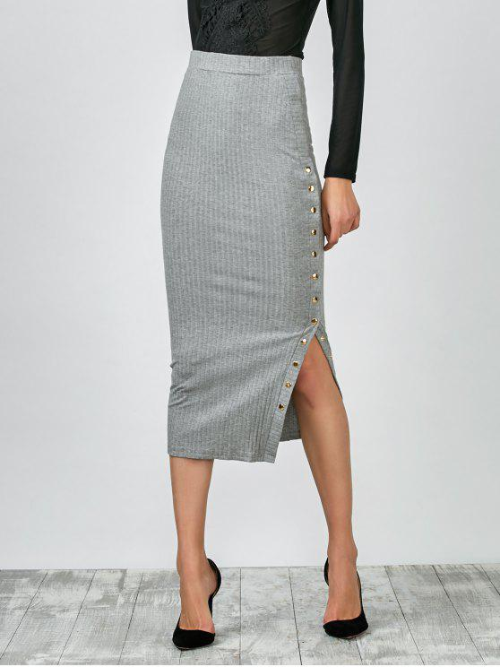 ladies Knitted Side Button Skirt - GRAY L