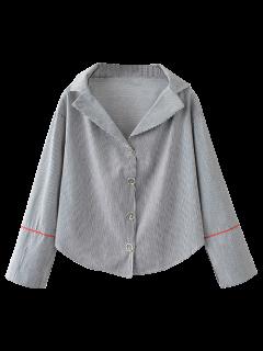 Lapel Collar Striped Shirt - Black