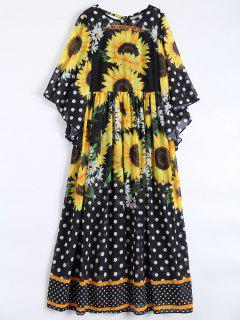 Sunflower Polka Dot Maxi Chiffon Dresses - Black Xl