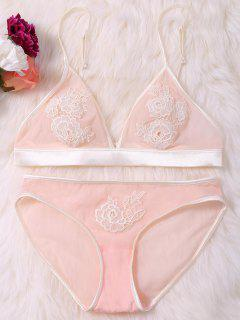 Sheer Floral Lace Mesh Bra Set - Pink L