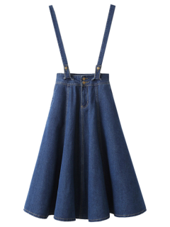 Suspender Denim Skirt - Deep Blue M