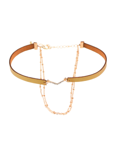Faux Leather Rhinestone V-Shaped Choker Necklace - Golden