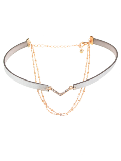 Faux Leather Rhinestone V-Shaped Choker Necklace - Gray