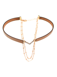 Faux Leather Rhinestone V-Shaped Choker Necklace - Brown