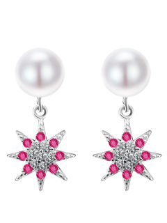 Pearl Sun Flower Earrings - White