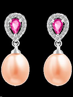 Pendientes De Lágrima Artificial De La Piedra Preciosa De La Perla - Rosa