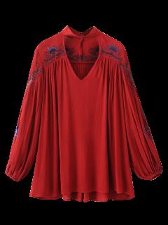 Gestickte Choker Bluse - Rot S