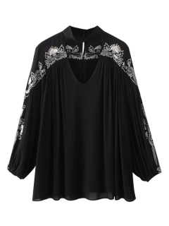 Embroidered Choker Blouse - Black Xl